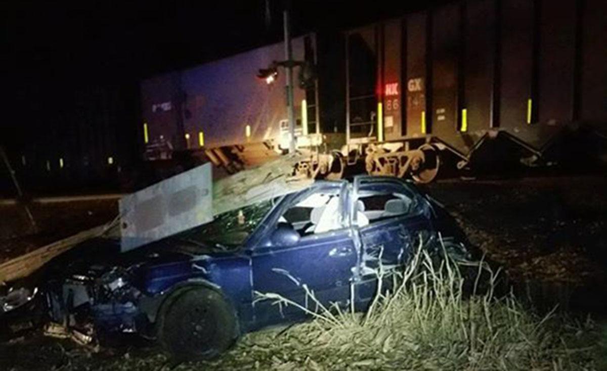 Scene of car-train collisiion near Georgetown. (Photo: DSP)