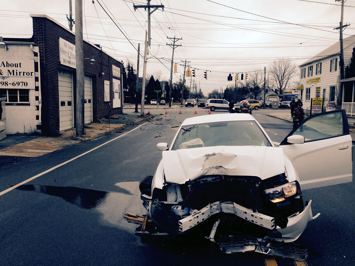 Car hit pole at Old Capitol Trail and Newport Gap Pike.