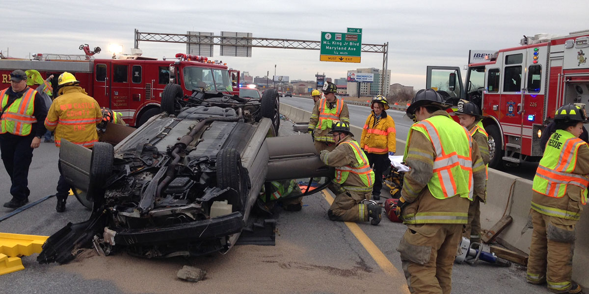 Crash on I-95 near Wilmington, Delaware