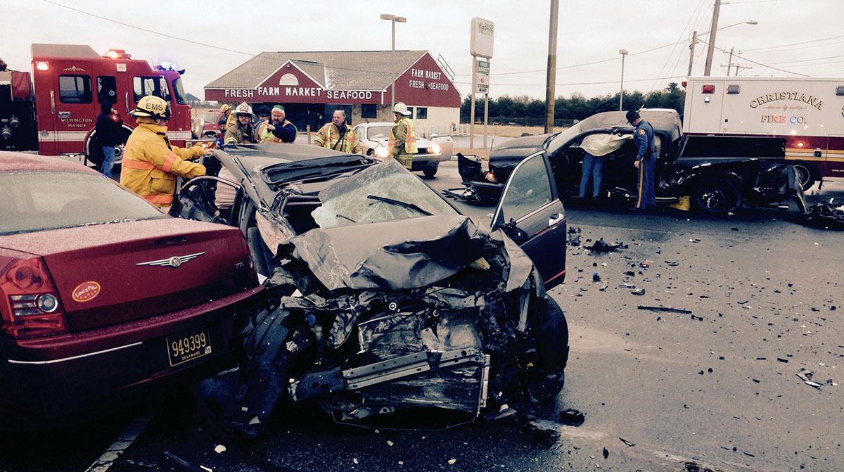 Scene of fatal crash on U.S. 13 at Hamburg Road