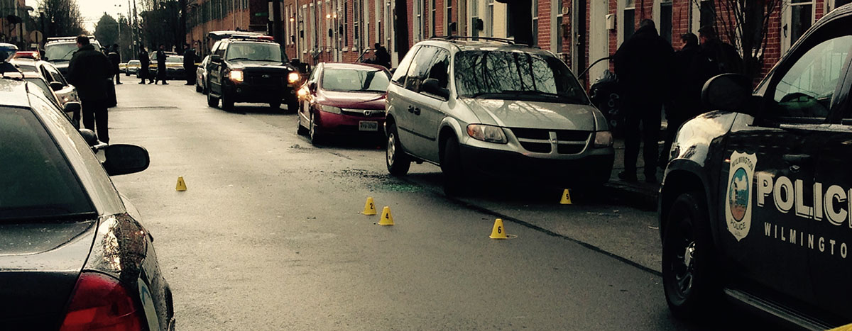 Police evidence markers on Kirkwood Street in Wilmington (Photo: DFN)
