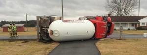 Pep-Up propane truck overturns near Greenwood