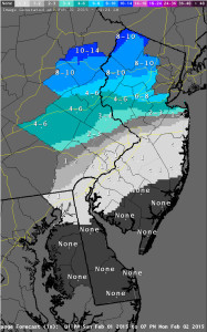 Snow projections from National Weather Service