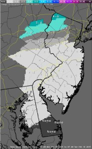 National Weather Service snowfall prediction for Delaware