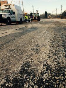 Water main break damaged Capitol Trail roadway.  Delaware Free News