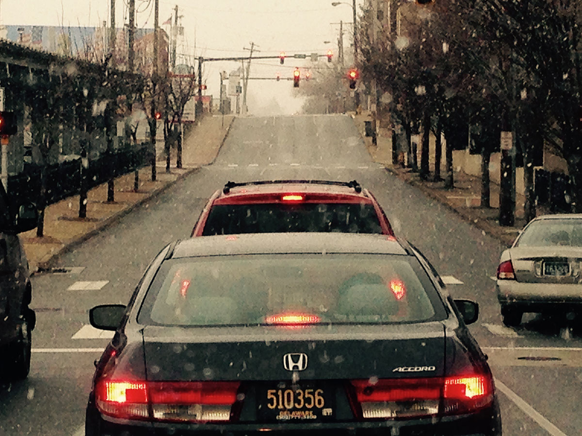 Flurries fall at Second and Orange streets in Wilmington, Delaware this morning.