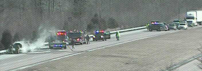 Car fire on northbound Route 1 near the North Smyrna exit. (Photo: DelDOT traffic cam