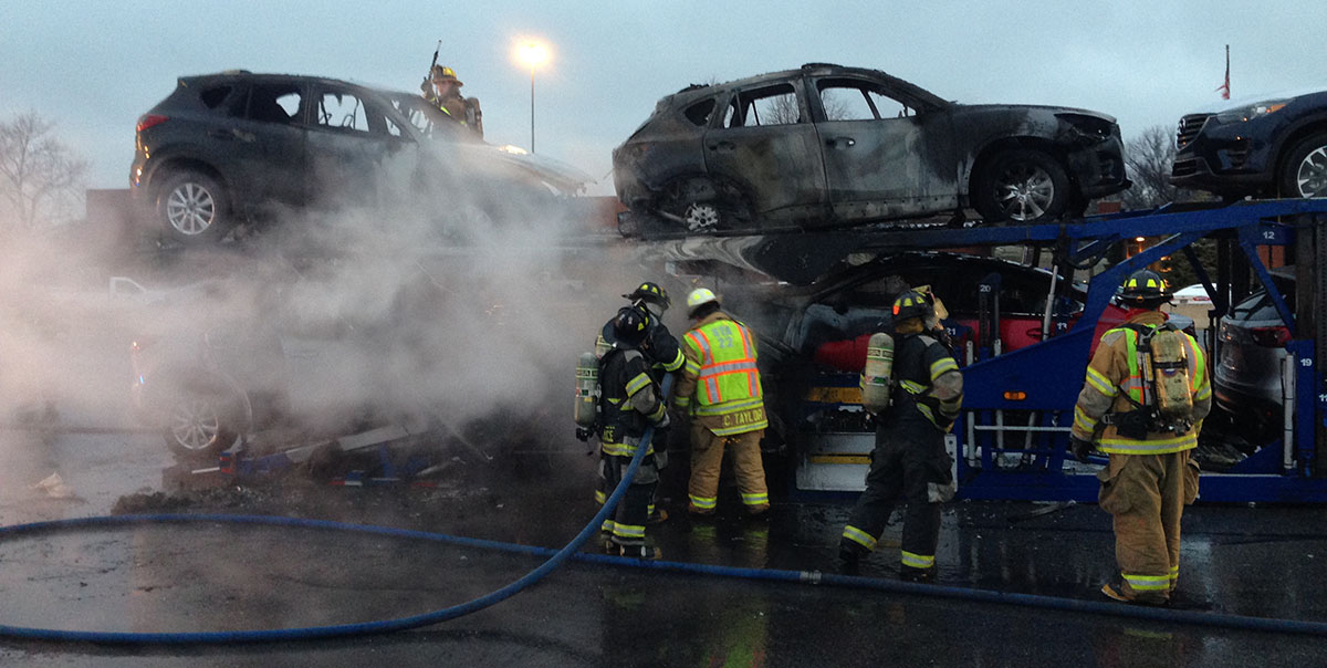 Six new Mazdas were destroyed when fire broke out on tractor-trailer on Interstate 295.
