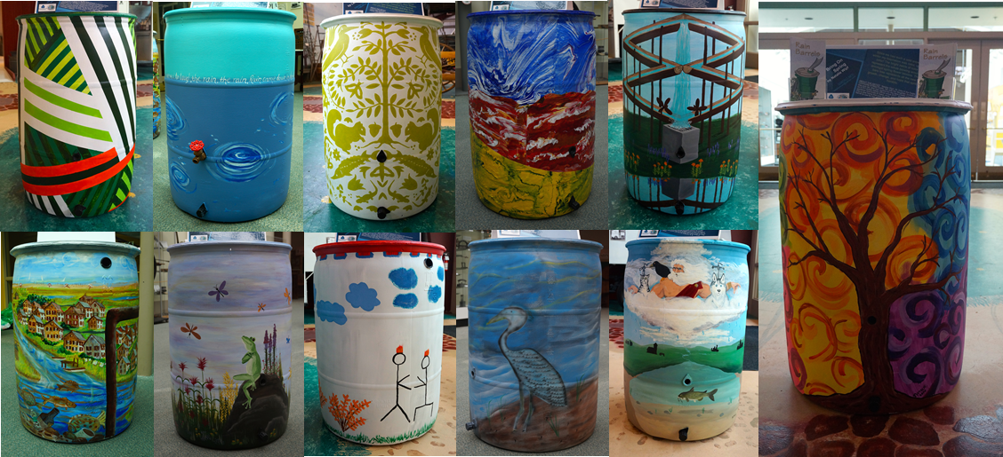 Winners of 2014 adult rain barrel painting contest (Photo: DNRED)