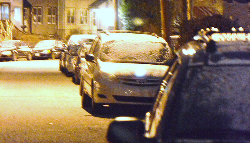 Snow coats cars on Bungalow Avenue in Elsmere about 8 p.m. Saturday after a squall moved through the area. (Photo: DFN)
