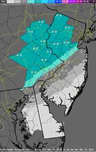 Snow predictions from National Weather Service