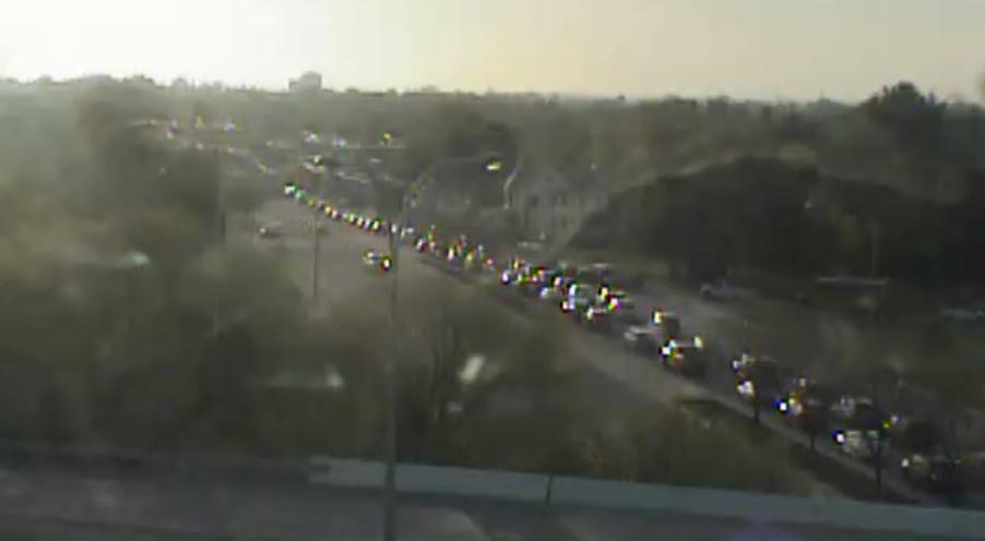 Eastbound Kirkwood Highway is jammed approaching Elizabeth Avenue just after 7 a.m.