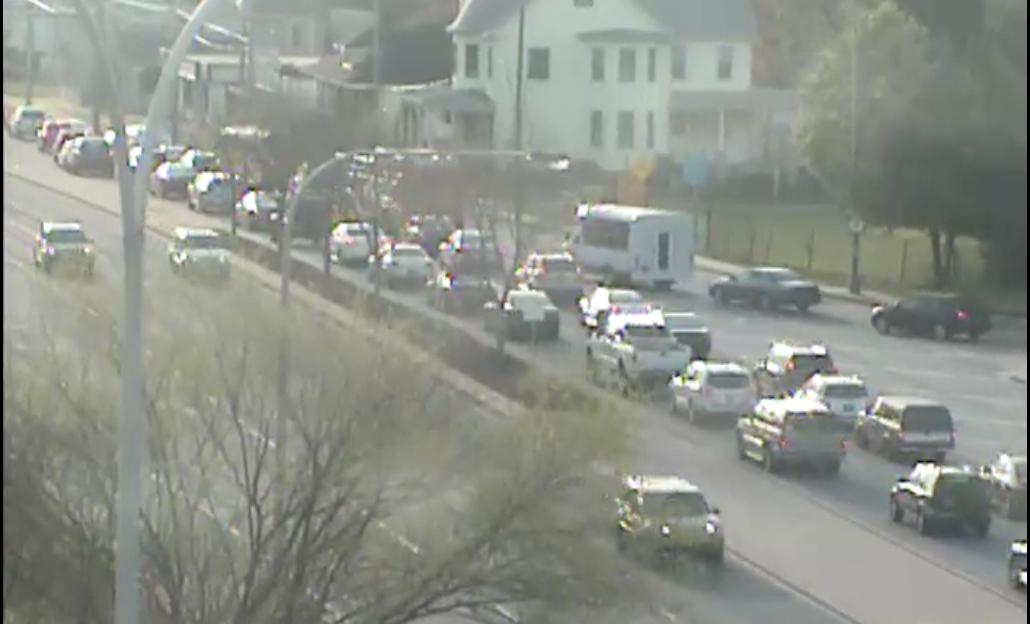 Jam on eastbound Kirkwood Highway at 7:22 a.m. (Photo: Del?DOT traffic cam)