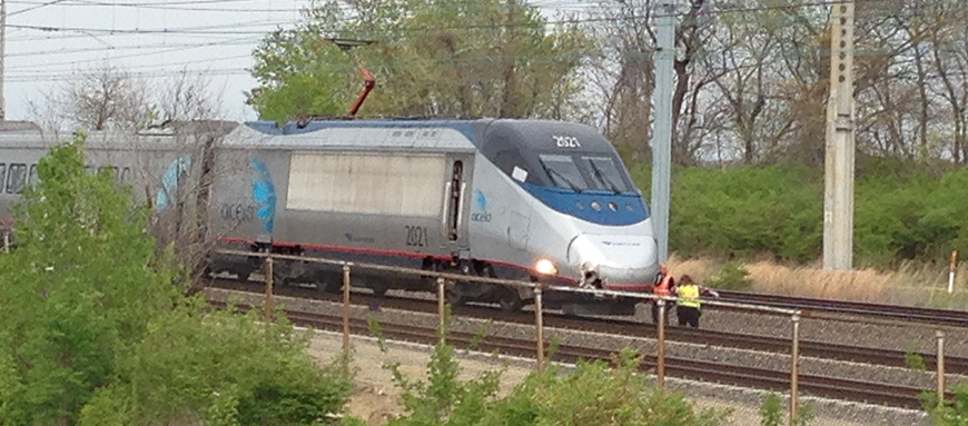 Amtrak train, with damage to its right front area, sits on tracks after fatal accident in Claymont. (Photo: Delaware Free News)