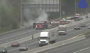 Car fire on I-95 at Newark tolls (Photo: DelDOT traffic cam)