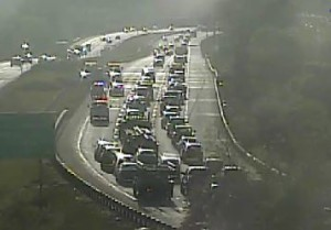 Crash scene on I-495 (Photo: DelDOT traffic cam)