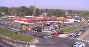 Dump truck overturned on southbound U.S. 13 (North DuPont Highway) at Bacon Avenue. (Photo: DelDOT traffic cam)