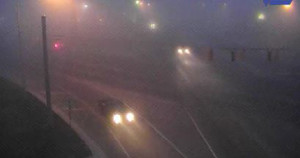 Fog hangs over the Five Points intersection at Route 1 and U.S. 9 near Lewes this morning. (Photo: DelDOT traffic cam)