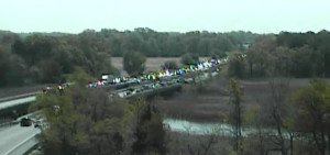 Northbound traffic was halted just south of the Route 12 overpass at north end of Frederica. (Photo: DelDOT traffic cam)