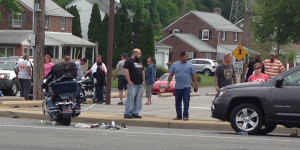 Motorcycle was moved to the side of U.S. 13 after crash with van and SUV. (Photo: Delaware Free News)