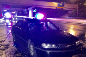 Car with smashed windshield remained at scene. (Photo: Delaware Free news)