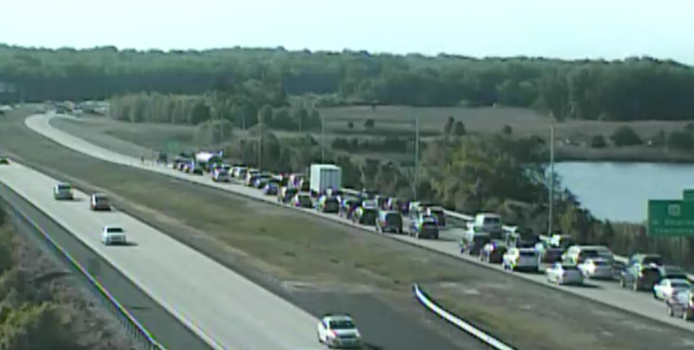 Northbound Route 1 was closed by an accident north of Exit 119. (Photo: DelDOT traffic cam)