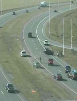 Accident scene on Route 1 at 8:45 a.m. (Photo: DelDOT traffic cam)