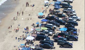 """Stacked"" parking of surf-fishing vehicles is now banned on Delaware beaches. (Photo: DNREC)"