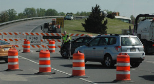 Northbound traffic on U.S. 113 was forced to make a U-turn at Frontage Road, where repairs began on overpass pavement. (Photo: Delaware Free News)