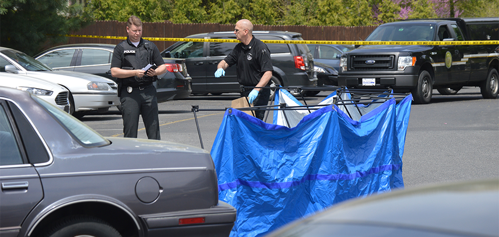 Dover police investigate at scene of fatal shooting in parking lot of Pine Grove Apartments. Body was shielded by blue tarp. (Photo: Delaware Free News)