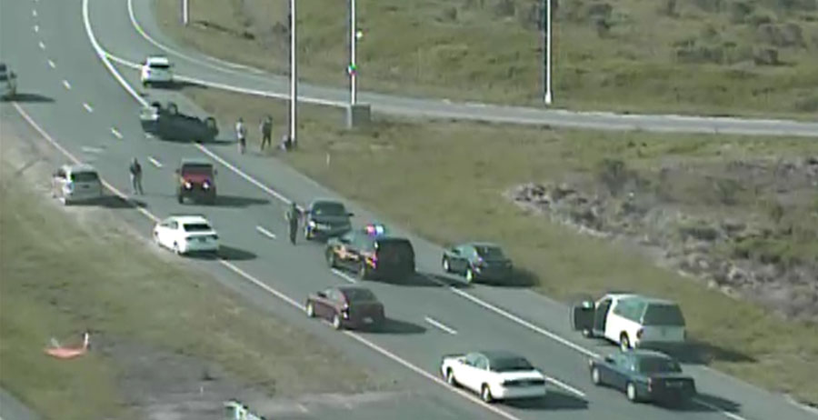 Accident on southbound Route 1 at Route 9 interchange near Dover Air Force Base (Photo: DelDOT traffic cam)