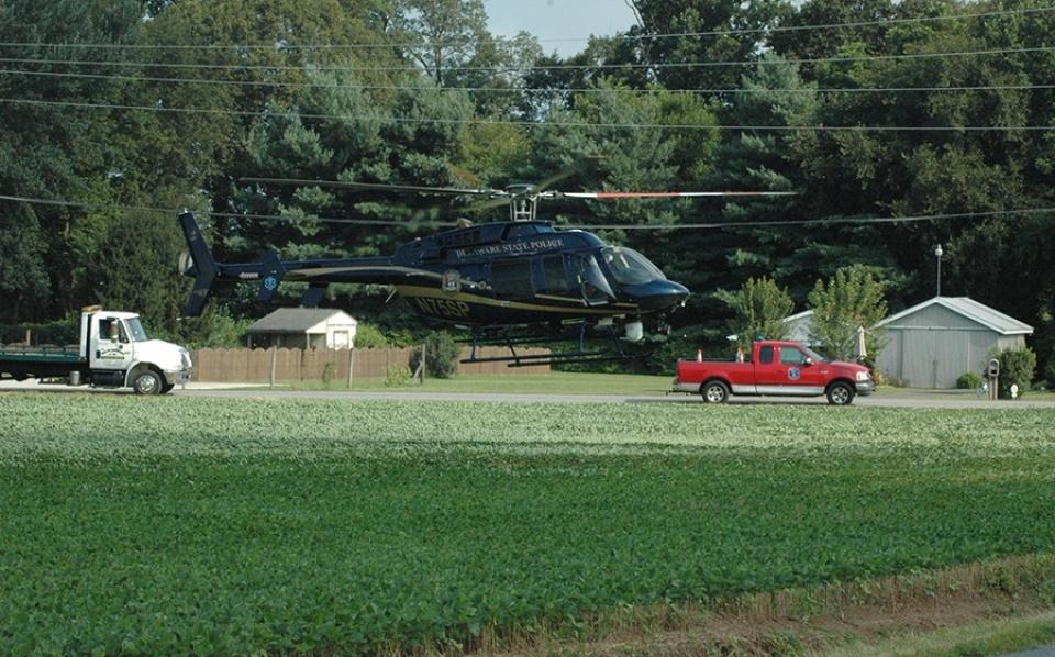 Barratt's Chapel Road DSP helicopter arrives