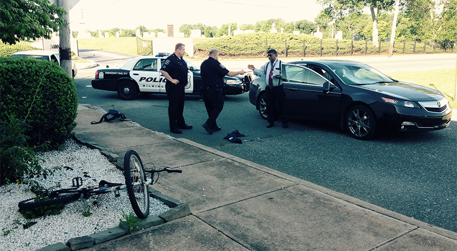 Scene of bicycle accident on Lancaster Avenue at Rodman (Photo: Delaware Free News)