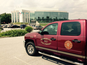 Delaware City Fire Company pickup truck was stolen from New Castle County police headquarters parking lot, involved in crash, then returned, police said. (Photo: Delaware Free News)