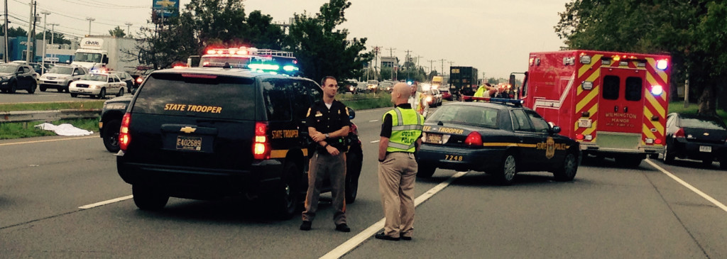 Scene of fatal accident on U.S. 13 in front of New Castle Airport. (Photo: Delaware Free News)