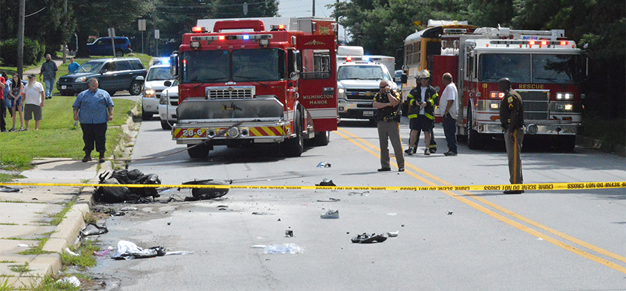 Scene of fatal motorcycle accident on Moores Lane near New Castle (Photo: Delaware Free News)