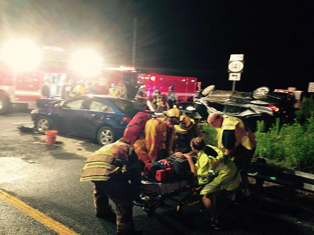Route 141 crash scene stretcher