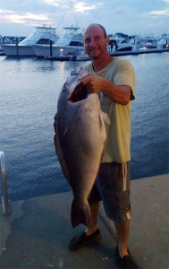 Andrew Orr and his record blueline tilefish (Photo courtesy DNREC)