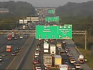 Southbound traffic was at a standstill at 7:20 a.m. (Photo: DelDOT traffic cam)