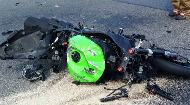Motorcycle involved in crash on U.S. 13 in Dover (Photo courtesy Dover Fire Department)