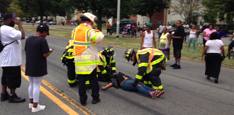 Motorcyclist was injured in crash at Fourth and Spruce streets in Wilmington. (Photo: Delaware Free News)