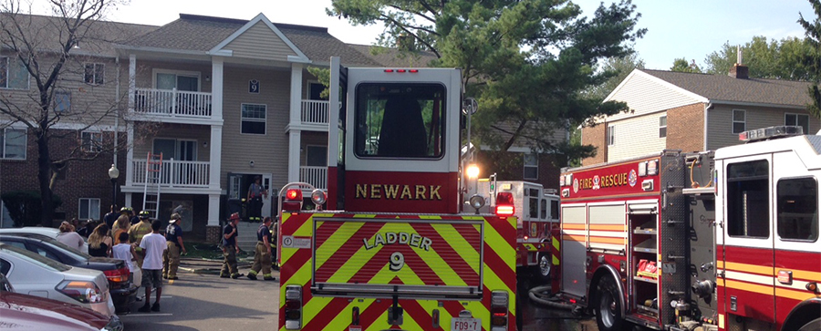 Fire hit apartment building at 9 Sandalwood Drive. (Photo: Delaware Free News)