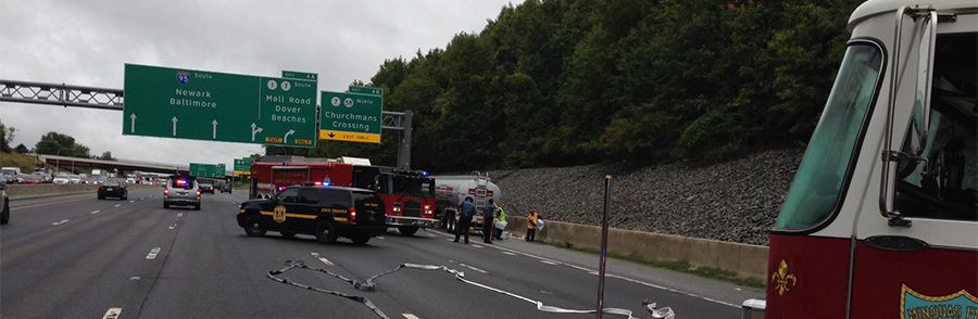Emergency crews deal with leak of racing fuel from tanker on southbound Interstate 95. (Photo: Delaware Free News)