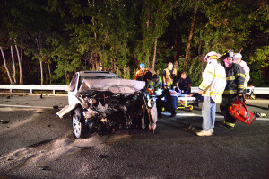 Crash wreckage on New Linden Hill Road (Photo: Delaware Free News)