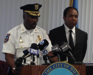 Police Chief Bobby Cummings and Mayor Dennis Williams appear at news conference this afternoon. (Photo: Delaware Free News)