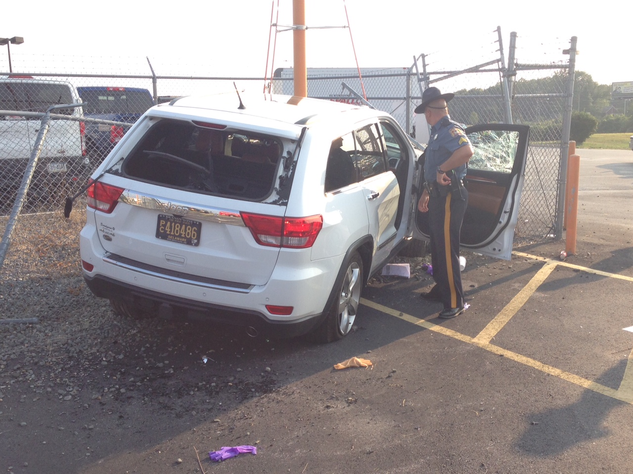 Jeep hit landing lights and stopped at fence along Old Churchman's Road. (Photo: Delawafre Free News)