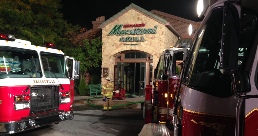 Fire scene at Macaroni Grill on Concord Pike in Talleyville (Photo: Delaware Free News)