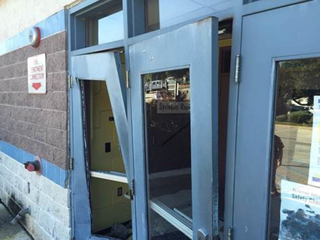 Damaged door at Garfield Park PAL Center (Photo: New Castle County police)