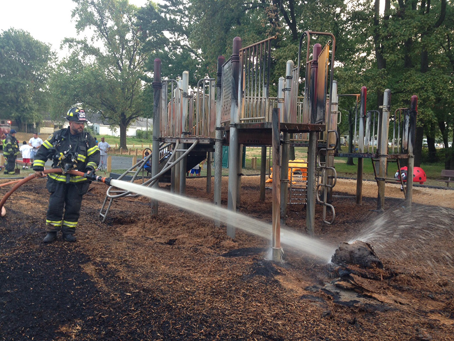Holloway Terrace firefighters extinguished blaze at playground in Simonds Gardens county park. (Photo: Delaware Free News)