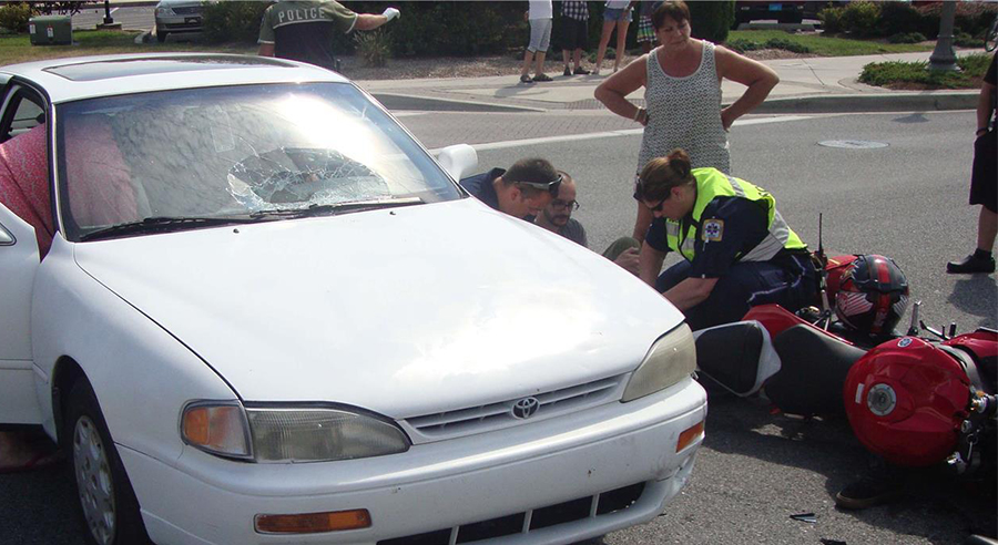 Accident scene on Rehoboth Avenue (Photo: Rehoboth Beach Police Department)